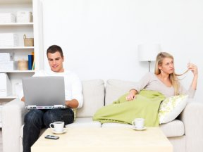 Couple Male Computer Addict Bored Wife