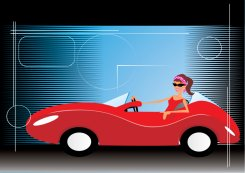 woman in red car animation