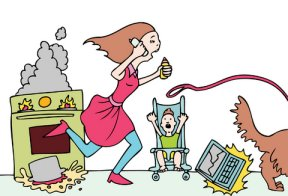 woman overwhelmed mom cartoon
